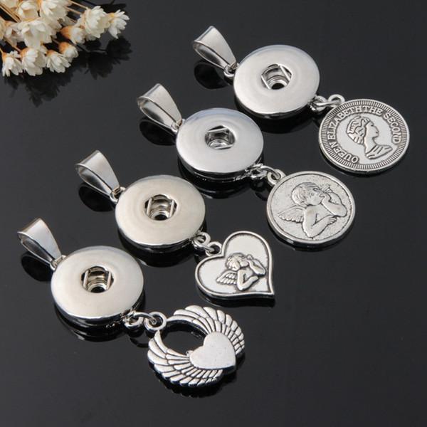 2019 Toplu 18 MM Topakları Noosa Snap Düğmesi Kolye Hayat Ağacı anne Kalp Anahtar Melek çiçek El çekicilik Zencefil Yapış kolye Takı Yapımı Için