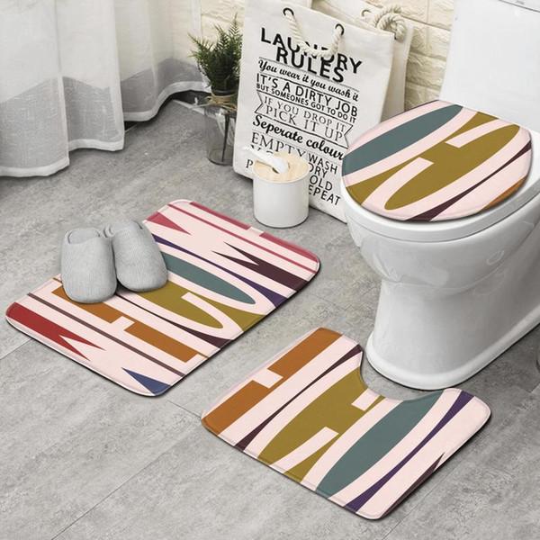 Aloha Coleção Bem-vindo azul 3 peça conjunto banheiro, antiderrapante tapete tapete perfil longo banho banheiro tapete