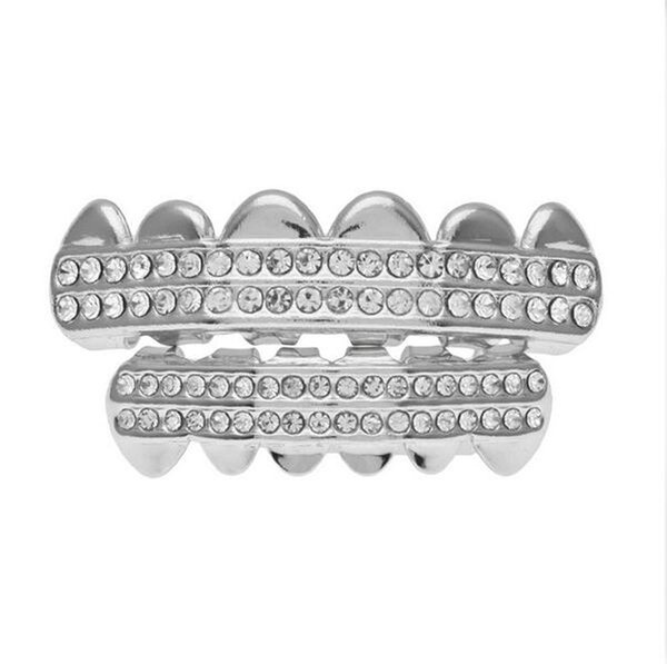 Hip Hop Iced Out Grillz Top & Bottom Teeth Grillz Colorful Punk Grills Dental Gold Tooth Caps Rapper Jewelry Party Gift