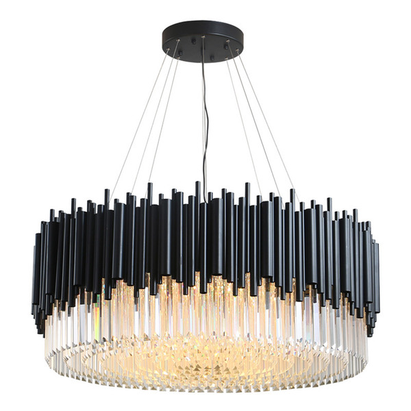 Black modern chandelier lighting living room round crystal lamps large home decor light fixtures luxury 90-260V DHL