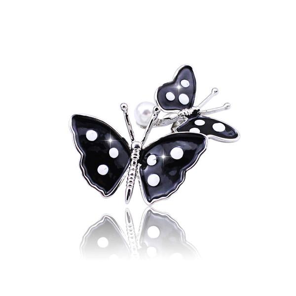 Spilla a forma di farfalla nera in lega retrò con puntino a farfalla sciarpa fibbia gioielli di moda spilla con perle spilla femminile carina centinaia di pezzi corrispondenti