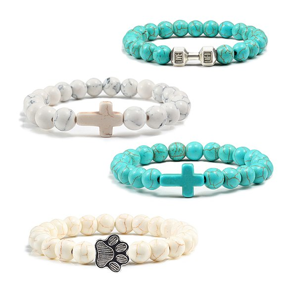 Mode Naturstein Kreuz Hantel Klaue Perlen Armband Für Frauen Männer Gebet Einstellbare Paar Armbänder Religiöse Schmuck Geschenk