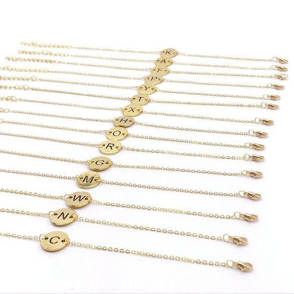 10PCS Gold 21.2CM Stainless Steel Bracelet Engrave A-Z Customized Personalized Bracelet