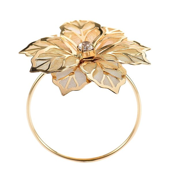 12Pcs/Set Alloy Flower Design Napkin Rings Floral For Wedding Receptions Gifts Holiday Banquet Dinner Christmas Table Decorati