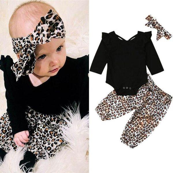 Léopard mignon bébé filles costumes nouveau-nés tenues à manches longues barboteuse + pantalon + noeuds bandeau 3pcs bébé fille vêtements bébé fille vêtements de créateurs
