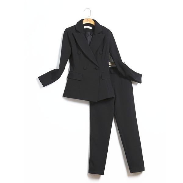 Costume pour femme slim costume à double boutonnage costume deux pièces costume (manteau + pantalon) soutien de la robe de bureau de la mode des femmes des femmes