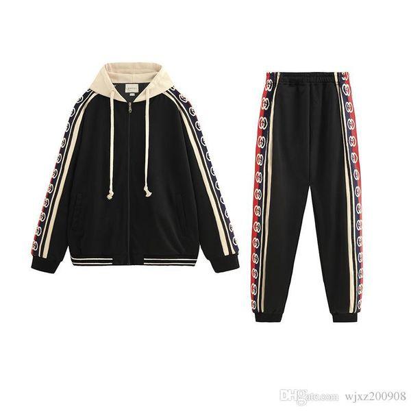 Marca Diseño impresión de la letra de 2 pedazos Mujeres top + pantalones traje casual chándales de 2 piezas manga corta con capucha del chándal