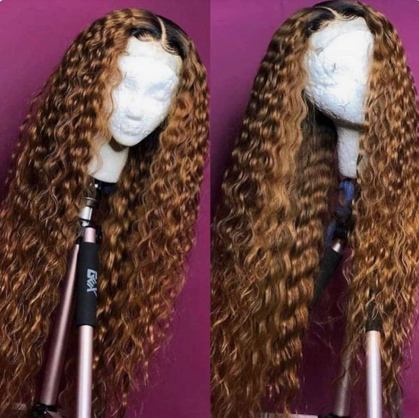 Brazilian human full lace hair wigs #1bt/27 deep wave honey blonde bleached knots lace front human hair wigs with baby hair