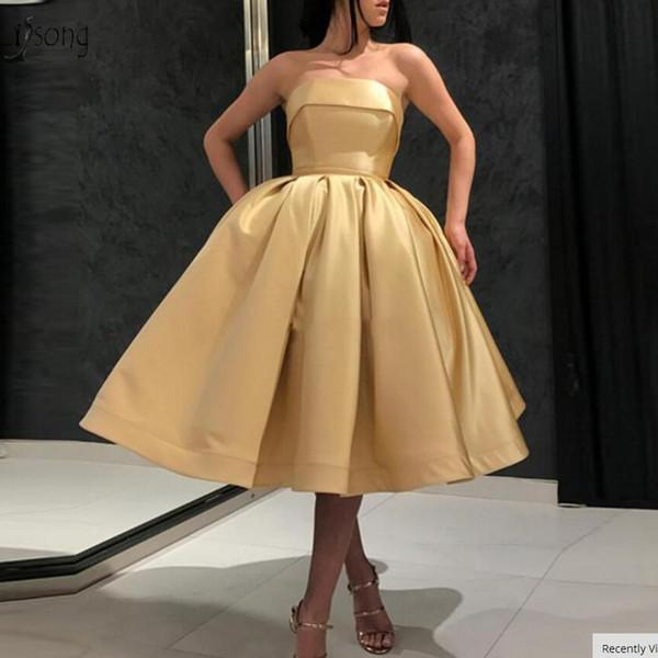 Vestidos de cóctel con longitud de té hinchada simple 2019 Barato dorado claro con hombros descubiertos Vestidos de gala de tallas grandes Vestidos de fiesta de bienvenida