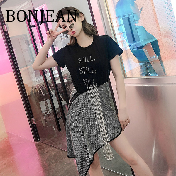 BONJEAN 2019 Irregular Tops + Skirt Set for Women Summer Two Pieces Sets Black Shirt and Asymmetric Skirt with Crystal BJ1022