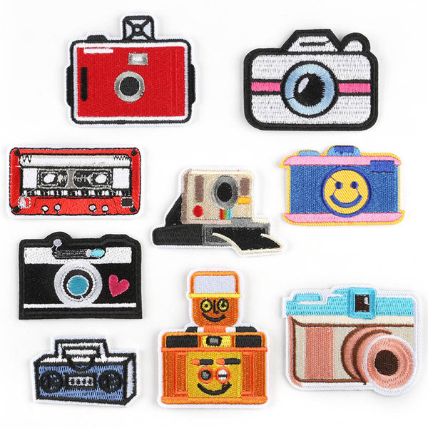 Camera Embroidery Patches Cartoon Fabric Sew Iron On Applique Patch Badge DIY Apparel Badges For Baby Kids Clothes Jeans Bag