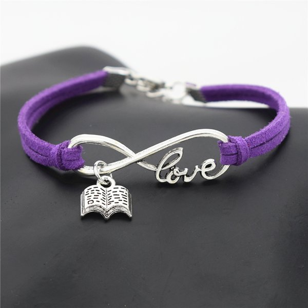 10 Colors 2019 New Fashion Purple Leather Suede Bracelets & Bangles Silver Infinity Love Reading Lovers Book Bracelets for Women Men Jewelry