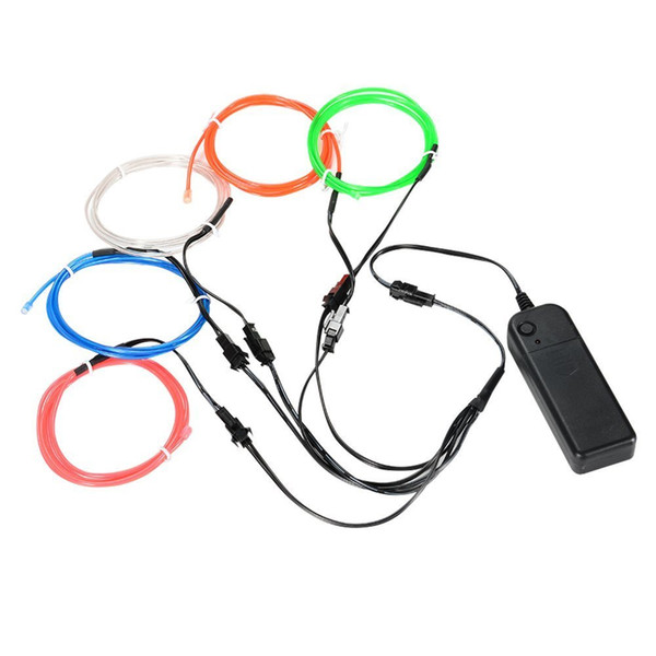 EL Wire Neon Lights Kit with Portable for Halloween Christmas Party Decoration (Random Color 5 by 5-Meter) Multi-color optional