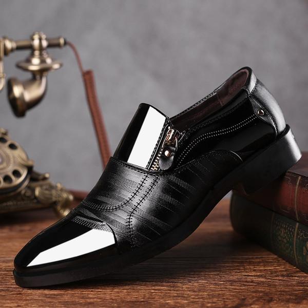 REETENE Fashion Business Dress Men Shoes 2019 New Classic Leather Men'S Suits Shoes Fashion Slip On Dress Men Oxfords #7804