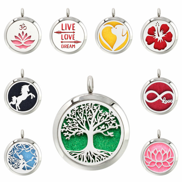 best selling Poppy lotus flower tree of life 30mm Magnet Stainless Steel Diffuser Necklace Pendant Essential Oil Aromatherapy Perfume 10 Pads (no chain)