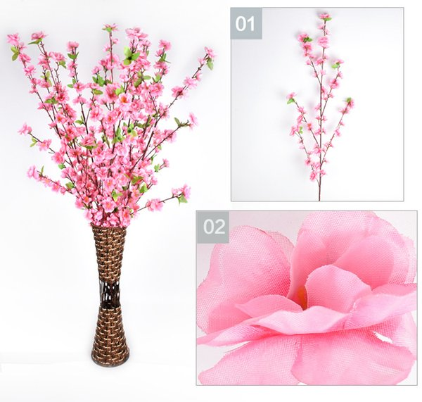 Artificial Cherry Spring Plum Peach Blossom Branch Silk Flower Tree For Wedding Party Decoration white red yellow pink 5 color