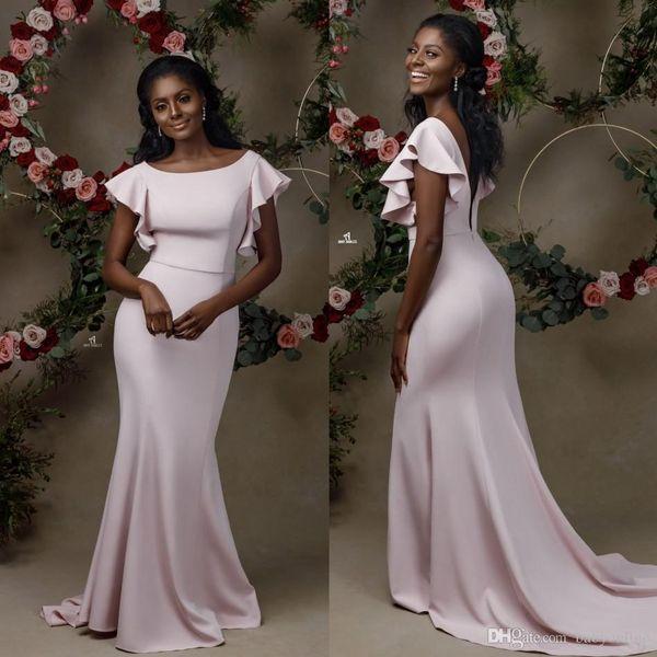 New Elegant Mermaid Bridesmaid Dresses Sexy Ruffle Cap Sleeves Backless Black Girls Wedding Guest Evening Party Dress Robe De Mariee