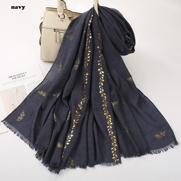 Arbeiten Sie neueste Frauen-Goldfolien-Blatt-Muster-Schal um, die 13Colors 10pcs / lot