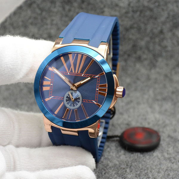 high grade executive dual time men watch marine ceramic bezel blue dial un-24 quartz battery rubber strap wristwatches mens watches, Slivery;brown