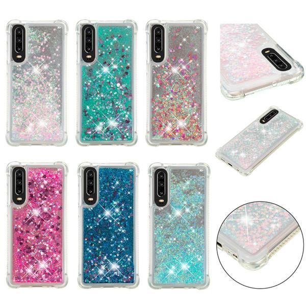 Soft Fashion Love Heart Quicksand Liquid Glitter Silicone Phone Case for Huawei P smart Huawei P30 Pro Air Cushion Corner Shockproof 05