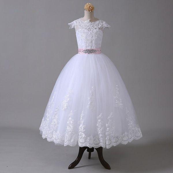Vestido de fiesta 2018 Vestidos de niña de las flores para bodas Mangas casquillo Vestidos de primera comunión con cuentas de encaje con lazo para niñas ST29