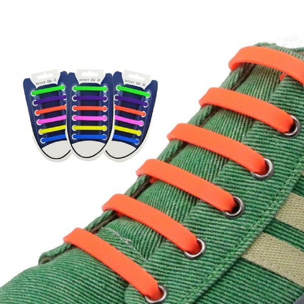 12PCS/Set 13 Colors Elastic Silicone Adult Shoelaces For Men Women Athletic Running No Tie Shoe Lace All Sneakers Fit Strap