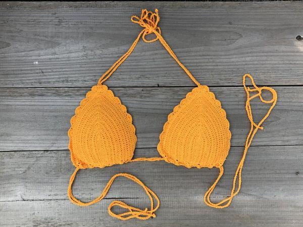 Roupa Boho Bainha de crochê feito à mão top top de natação sexy Praia Tankini top