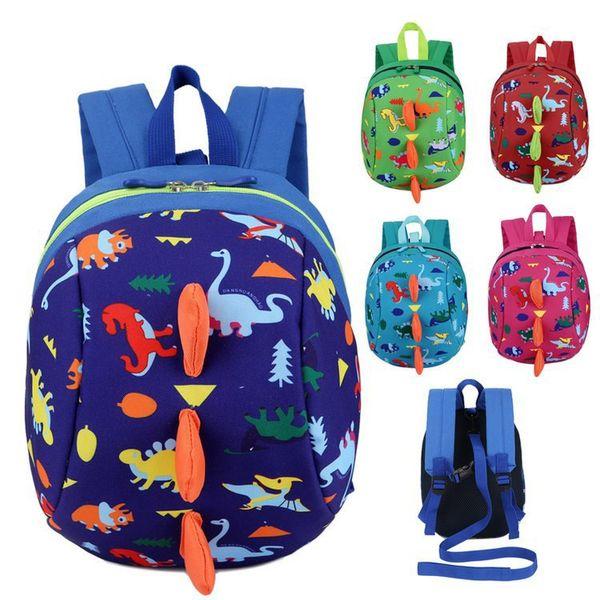 Anti-lost Kids Backpack Cute Cartoon Dinosaur Animal Print Children Backpacks for Boys Girl Kindergaden School Backpacks
