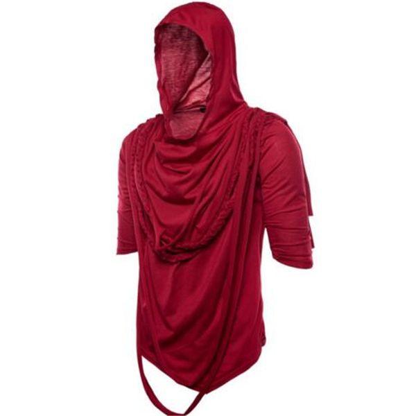 Men's punk T-shirt nightclub stage suit street hip hop men short sleeve Gothic cloak tshirts irregular personality hooded short sleeves
