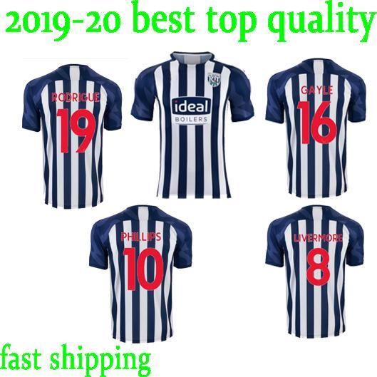 new Thai version 19 20 West Bromwich football team jersey Albion 2019 2020 home #16 Gayle #19 Rodriguez #10 Phillips #8 Livermore camisetas