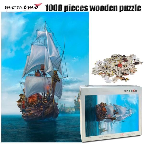 MOMEMO Le Voilier 500/1000 Pièces Puzzle En Bois Adulte Puzzle 1000 Pièces Paysage Puzzles Divertissement Assemblage de jouets