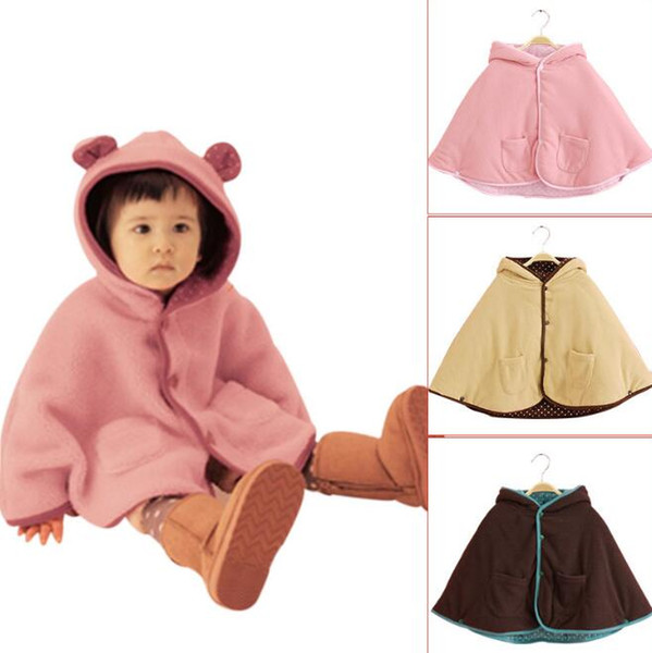 Winter Baby Jacket Children Ears Cloak Kids Hoodies Outerwear Girl Winter Thick Poncho 3 Color For 0~2 Years