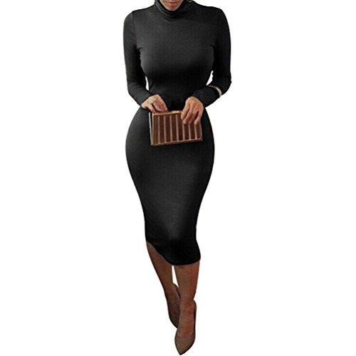 laiyuan mujeres cuello alto manga larga delgado bodycon abrigo túnica vestido a media pierna
