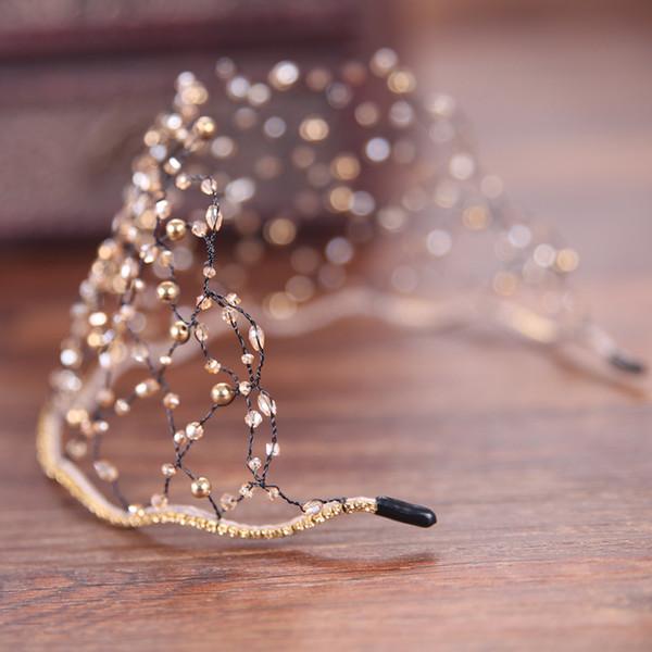 2019 Brand Golden Rhinestone Gem Head Band Crystal Net Tiaras Pearl Hairband Bride Hair Jewelry Crown Women Hair Accessories