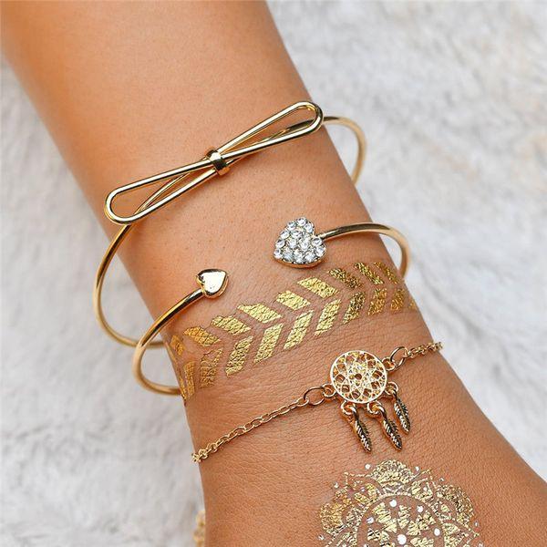 3 Pcs / ensemble Bohémien Rétro Bracelet Or Coeur Coeur cristal Dreamcatcher Pendentif feathe Ouvert Bracelet Femmes Partie De Mariage Accessoires
