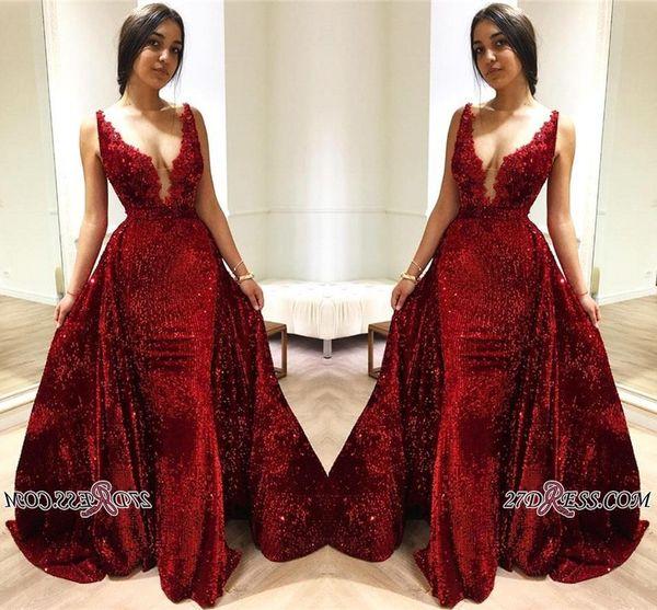2019 nouveau rouge foncé paillettes sirène robes de bal Deep V Cou dentelle Appliques balayage train formelle robes de soirée avec jupe détachable BC1514