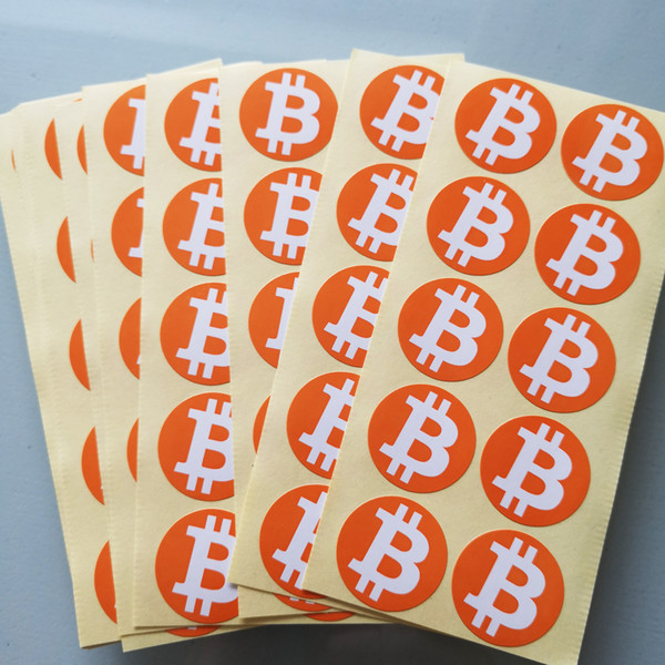 6000pcs 30mm diameter bitcoin logo label sticker, orange color printing on gloss paper, Item No.FS03