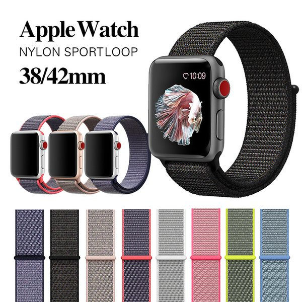 best selling 27 colors For Apple Watch iWatch Band 42mm 38mm watchBand 4 3 2 1 Nylon Soft Breathable Sport Loop Adjustable Closure Wrist Strap