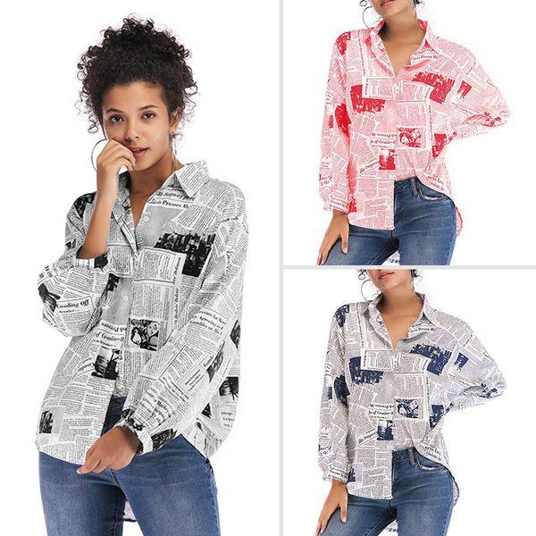 Womens Tops Womens Blusas Moda 2019 Imprimir jornal Mulheres blusa solta Turn Down Collar Blusas selvagens Camisas Casual