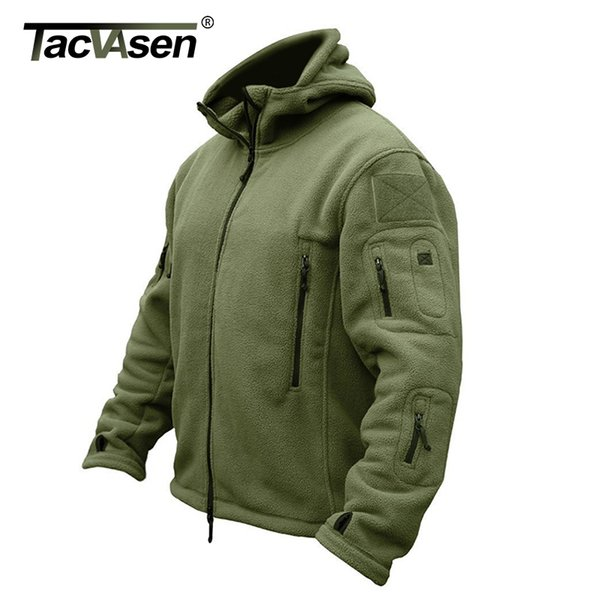 TACVASEN Winter Airsoft Military Jacket Men Fleece Army Tactical Jacket Thermal Hooded Jacket Coat Outerwear Hoody Mens Clothing T191228