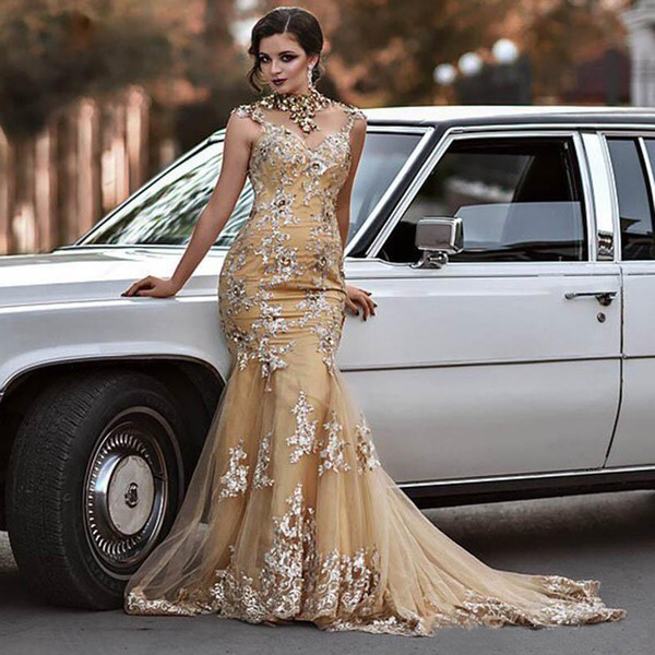 Long Luxury Mermaid Evening Dresses High Neck with Sleeveless Sweep Train Appliques Tulle Prom Gowns Elegant Party Maxi Dress