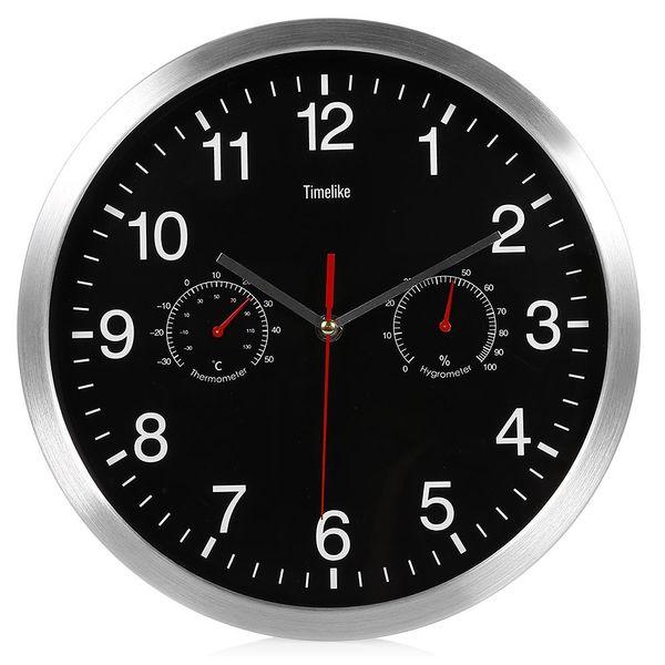 Silencio de metal reloj de pared silencioso de barrido Movimiento termómetro higrómetro n-marcando Inicio la decoración del arte nuevo diseño CALIENTE