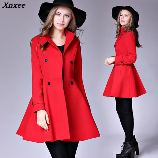 Autumn Winter Suit Blazer Women 2018 Formal Work Office Lady Wool Blends Casual Long Sleeve Outerwear Christmas Red Party Coat