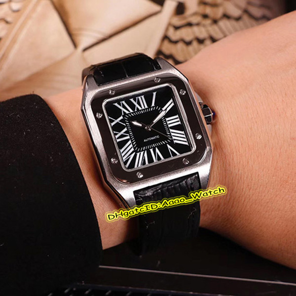 New 100 WSSA0006 Silver Steel Case Black Dial 40mm Big Roma Mark Miyota 8215 Automatic Mens Watch Black leather Strap Watches High Quality