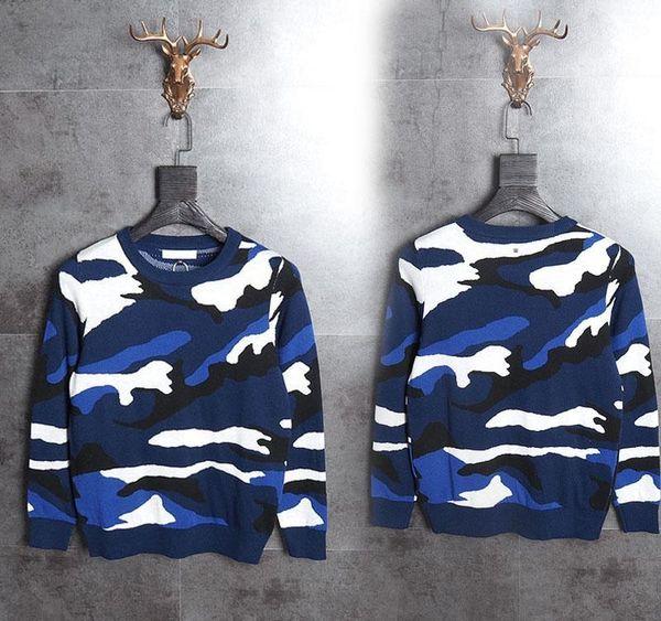 2017 Top Qualität Italien Männer s Pullover blau Tarnaufdruck Hip-Hop-Tuch Street schwarz 2XL