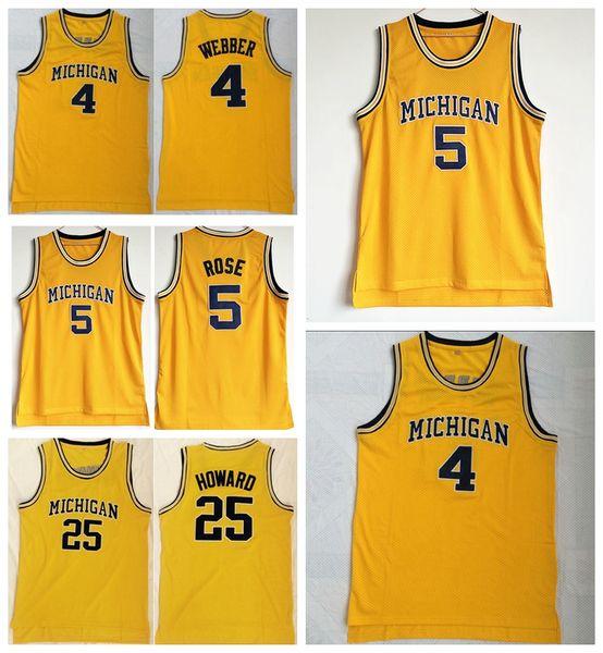NCAA Colegio Hombres Baloncesto 5 Jalen Rose Jersey Michigan Wolverines 4 Chris Webber 25 Juwan Howard Jerseys Team Color Amarillo Envío Gratis