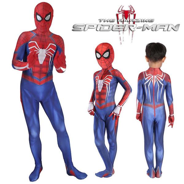 Spider-Man PS4 Cosplay Costume Video Game 3D Print Spiderman Full Bodysuit Halloween Costume For Kids Superhero Fancy Dress