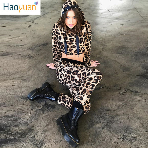 HAOYUAN Leopard Print Two Pieces Set Long Sleeve Crop Top and Pant Sweat Suit Sexy Club Matching Sets 2 Piece Outfits for Women