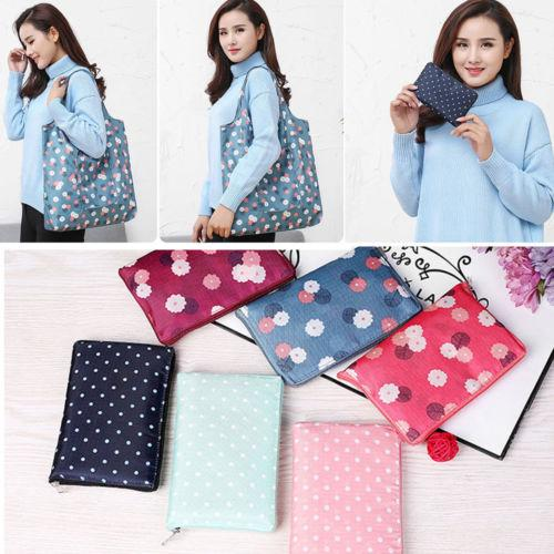 Flower Print Foldable Handy Shopping Bag Reusable Tote Pouch Recycle Storage Bag Hot Sale
