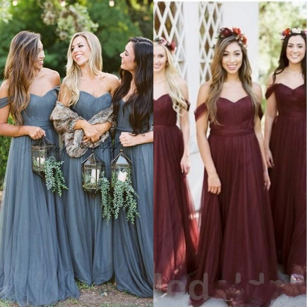 2019 Boho Blue Bridesmaid Dresses Off The Shoulder Country Wedding Guest  Dress Plus Size Maid Of Honor Bridesmaids Dress Black And White Bridesmaid  ...